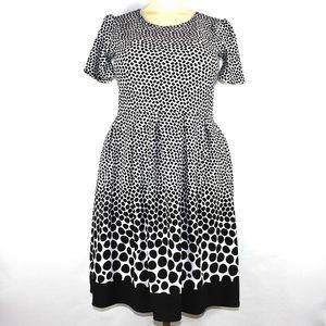 Lularoe Amelia Black White Polka Dots Dress 2XL